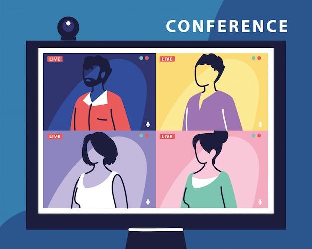 Leute, die auf dem computerbildschirm miteinander sprechen, konferenzvideoanrufe tätigen und von zu hause aus arbeiten