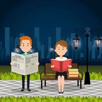Leute, die auf dem Parkvektor-Illustrationsdesign lesen