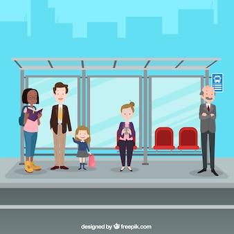 Leute, die auf den bus mit flachem design warten