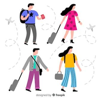 Leute, die auf eine reisesammlung gehen