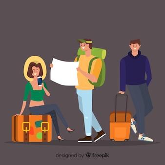 Leute, die auf einen reisehintergrund gehen
