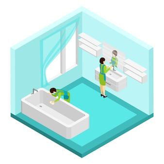 Leute, die badezimmer-illustration säubern
