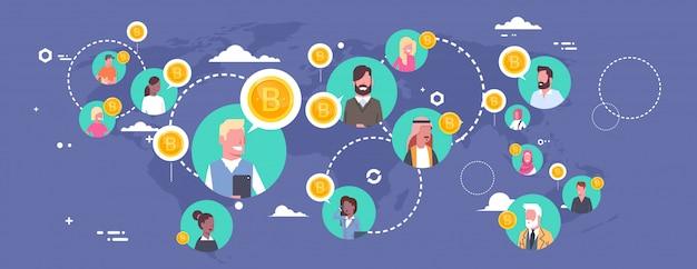 Leute, die bitcoins über weltkarte-modernem digital-geldnetz-krypto-währungs-konzept kaufen