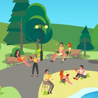 Leute, die buch im park lesen. sammlung von mann und frau, die im freien lesen. personenstudie.