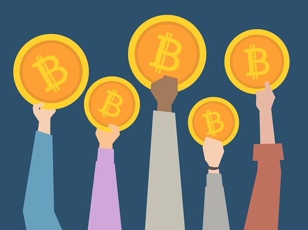 Leute, die cryptocurrency illustration halten