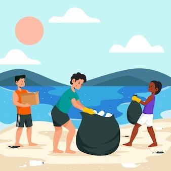 Leute, die den strand säubern