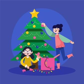 Leute, die den weihnachtsbaum verzieren