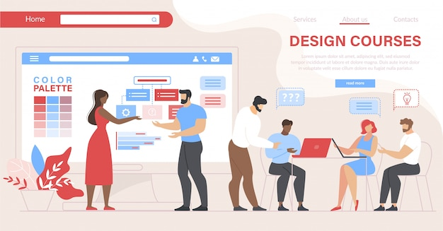 Leute, die designkurse besuchen. bildung im unterricht