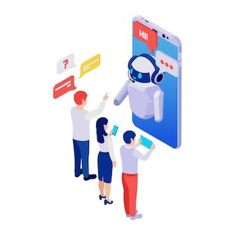 Leute, die die chatbot-messenger-anwendung auf dem isometrischen 3d-smartphone verwenden