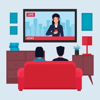 Leute, die die nachrichten im fernsehen sehen