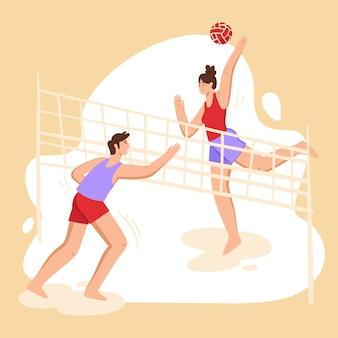 Leute, die draußen volleyball spielen