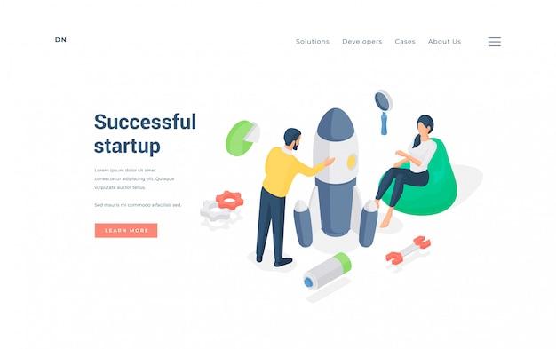 Leute, die ein erfolgreiches startup-projekt starten. isometrische vektorillustration