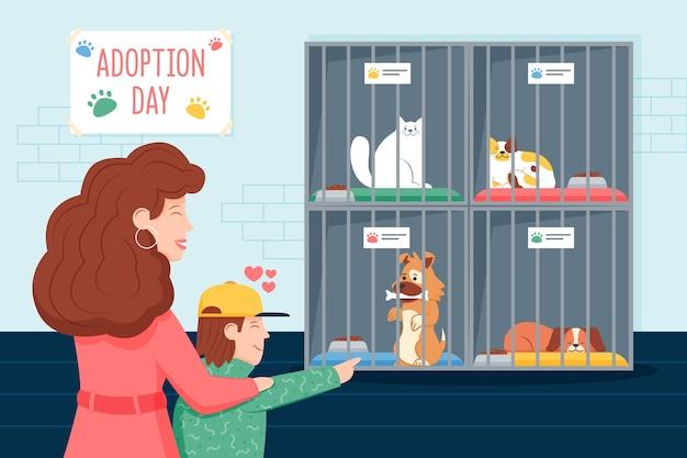 Leute, die ein haustier adoptieren
