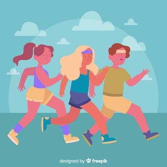 Leute, die ein marathonrennen laufen lassen