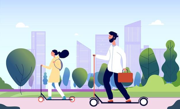Leute, die elektrischen tretroller fahren. glückliche lächelnde kerle reiten im stadtpark. modernes elektrisches persönliches transportvektorkonzept.