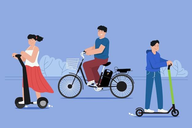 Leute, die elektrisches transportpaket fahren