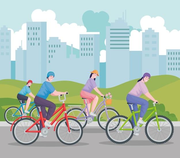Leute, die fahrrad fahren
