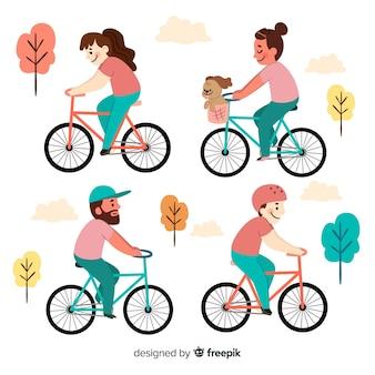 Leute, die fahrrad im park fahren
