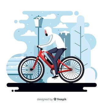 Leute, die fahrrad im park reiten