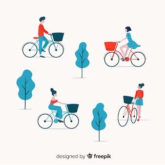 Leute, die fahrrad in der parksammlung fahren