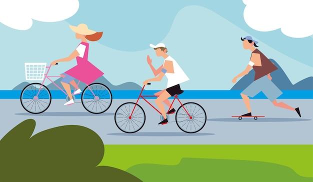 Leute, die fahrräder und skateboard in der straße aktivität im freien fahren