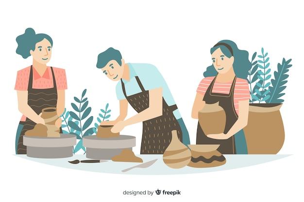 Leute, die flaches design der tonwaren machen