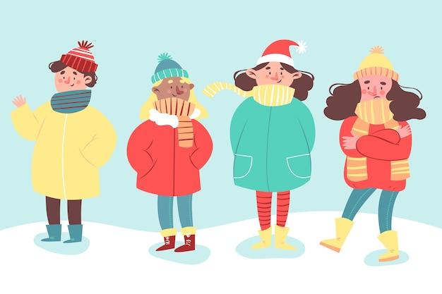Leute, die flaches design der winterkleidung tragen