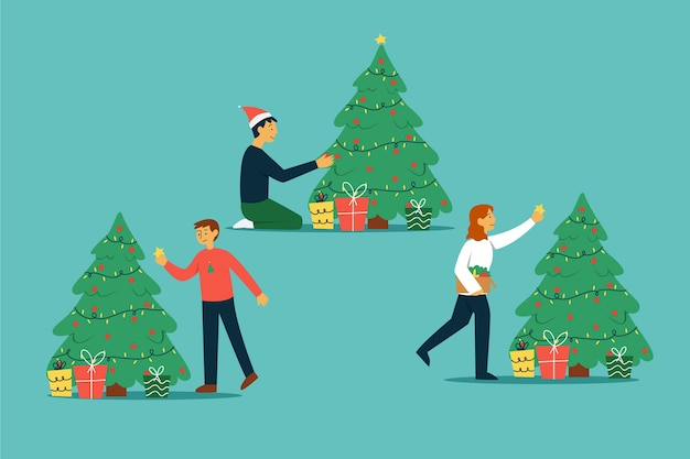 Leute, die flaches design des weihnachtsbaums verzieren