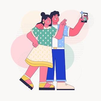 Leute, die fotos mit dem smartphone machen