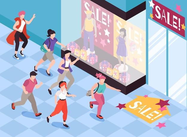 Leute, die für verkaufshintergrund mit isometrischer illustration der sonderangebotssymbole laufen