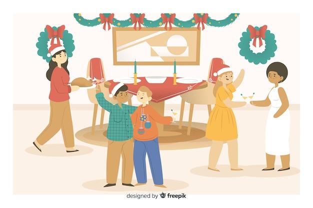 Leute, die für weihnachtsabendessenkarikatur sich versammeln