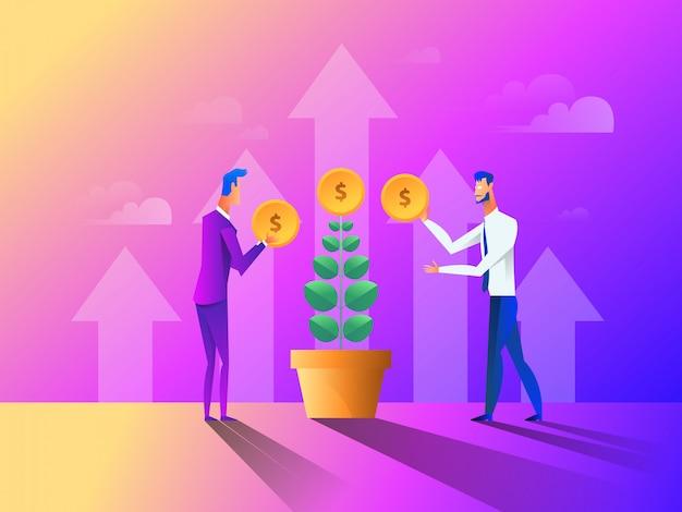 Leute, die geld für ihren geldbaum sammeln, pflanzen und pflegen.