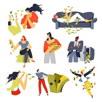 Leute, die geld werfen, reiche und wohlhabende männliche und weibliche charaktere mit bargeld-banknoten