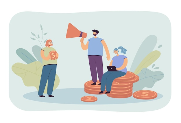 Leute, die geldillustration finanzieren Kostenlosen Vektoren
