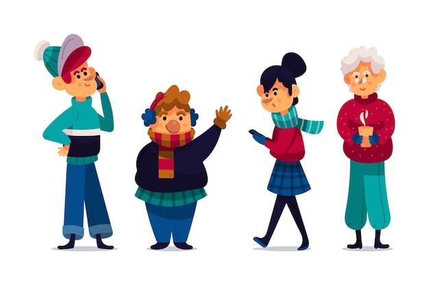 Leute, die gemütliche winterkleidung tragen