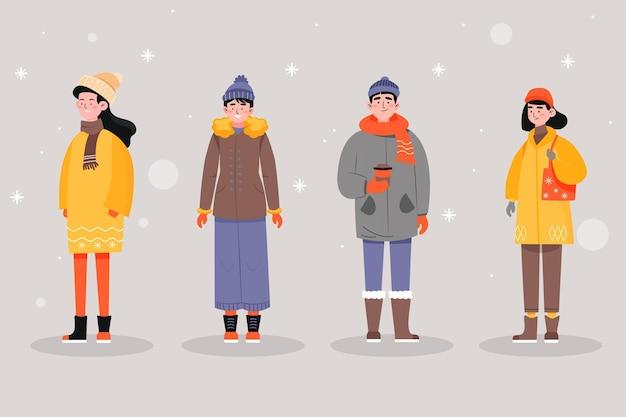 Leute, die gemütliches winterkleidungsset tragen