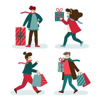 Leute, die geschenke für weihnachten kaufen und halten
