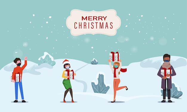 Leute, die geschenke in den frohen weihnachten und im guten rutsch ins neue jahr feiern