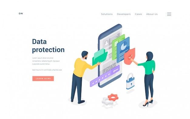Leute, die geschützten datenmann durchsuchen ordner, während frau dateien auf smartphone isometrische illustration prüft