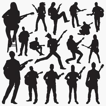 Leute, die gitarre spielen silhouetten