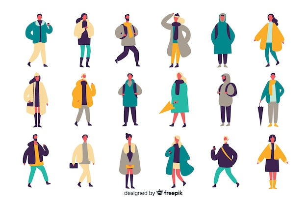 Leute, die herbstkleidung tragen
