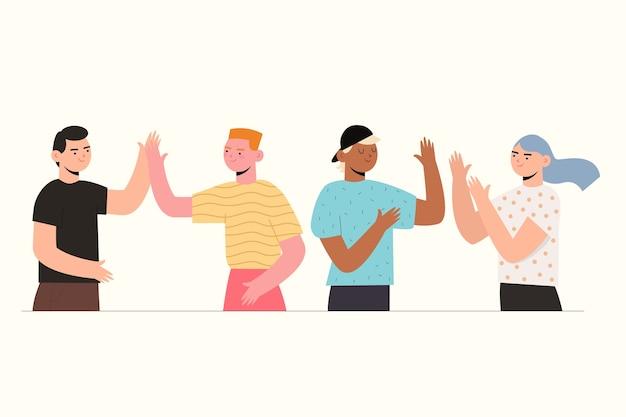 Leute, die high-five geben und glücklich sind