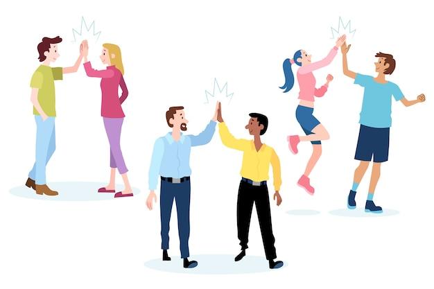 Leute, die high five geben und spaß haben