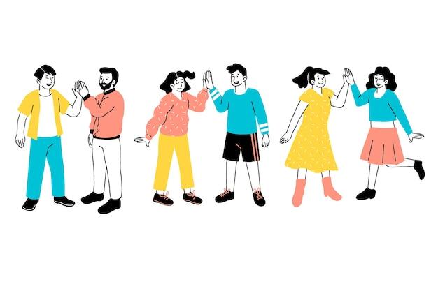 Leute, die high five geben