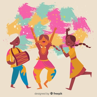 Leute, die holi fesival hintergrund tanzen Kostenlosen Vektoren