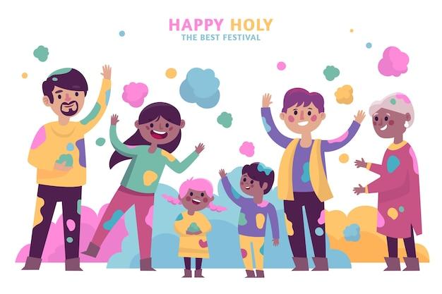 Leute, die holi festival feiern