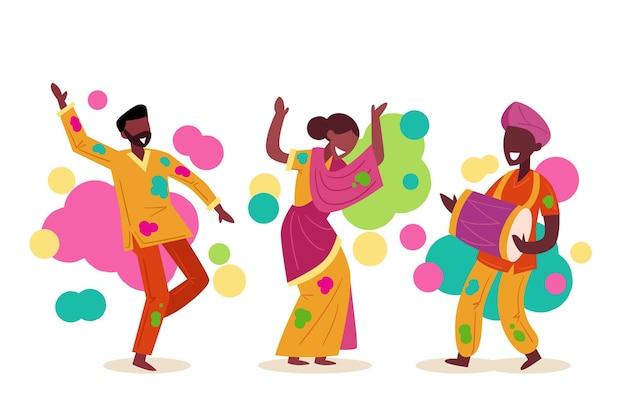 Leute, die holi festival feiern Kostenlosen Vektoren
