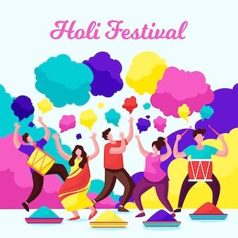 Leute, die holi festival mit farbe und traditioneller kleidung feiern