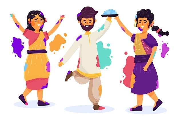 Leute, die holi festival mit flecken feiern