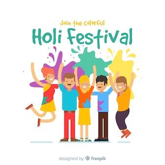 Leute, die holi festival set genießen